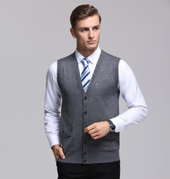 Wholesale Cardigan Sweater Vest Men - 2017 New Arrival Autumn Clothing Cashmere Sweater Men Vests Wool Vest Knitted Mens Cardigans Sleeveless waistcoats