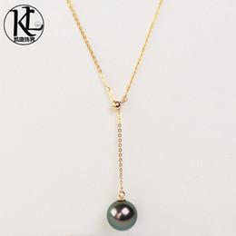 Auténticas perlas negras de tahiti online-diseño de moda genuina cultura natural de 9-10mm collar de perlas de Tahití joyería de perla colgante ajustable Tahití Negro 18 quilates de oro para las mujeres