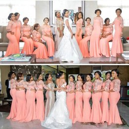 Wholesale Inexpensive Vintage Lighting - South African Style Mermaid Coral Bridesmaid Dresses Vintage Lace Illusion Sheath Stretchy Floor Length Formal Party Inexpensive Dresses