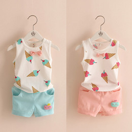 Wholesale Ice Cream Baby Set - 2016 New Baby Girls Clothes Childrens ice cream t-shirt+short blue pink for Kids Clothing sets Summer sleeveless sets