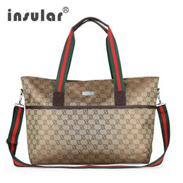 Wholesale British Bags - INSULAR Top Grade Waterproof Mommy Maternity Diaper Bag Handbag Large Capacity Baby Bag Classic British Style Mummy Nappy Bag