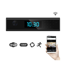Wholesale Spy Clock Motion Activated - HD Wifi Clock IP Camera 1080p Night vision Clock Hidden Spy Camera Digital Clock Motion Activated Video Recorder Home Security Network DVR