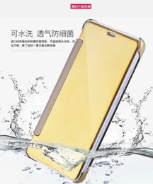 Wholesale Note3 Smart Sleep - Mirror Electroplate Wallet Case Pouch For Samsung Galaxy J5 J7 Xiaomi Hongmi Redmi Note3 Note 3 Smart Touch View Sleep Skin Cover Packaging