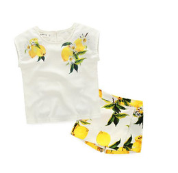 Wholesale Cute Baby Girl Yellow Outfits - 2016 Children Set Kids Suit Outfits baby Girls Summer set Baby short sleeve tops T shirts Kid shorts Suits Child Clothes Kids Clothing