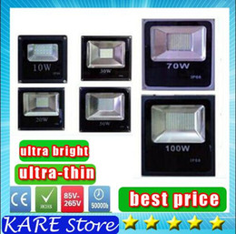 Wholesale Thin Led Lighting Floods - Cheapest !! Waterproof IP65 Led Floodlight Light 10W 20W 30W 50W 70W 100W 85-265V LED outdoor flood lighting Black Ultar Thin DHL shipping