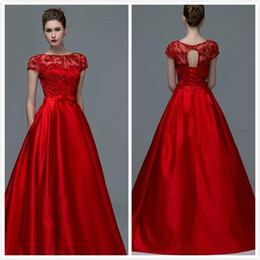Wholesale One Shoulder Evening Dresses Shirt - 2016 Zuhair Murad Red Prom Dresses Party with Cap Sleeves Lace Applique Beading Bridal Lace up Plus Size Formal Evening Gowns