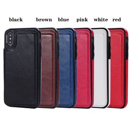 Wholesale Plastic Id Pouch - For iphone X 8 7 Wallet Leather Case Card Money Slots Slim Multi-functional Folio ID Window Shockproof TPU Cover for i6 6S plus SCA285