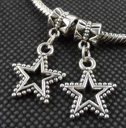 Wholesale Fit Points - 100PCS Tibetan Silver five-pointed star Charms Pendant Dangle Beads Fit European Bracelet 25mm