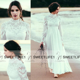 Wholesale Long Maternity Summer Dresses Bohemian - 2016 Sheer Long Sleeves Modest Maternity Bohemian Beach Bridal Gowns Empire Waist Chiffon High Quality Lace Cheap A Line Wedding Dresses