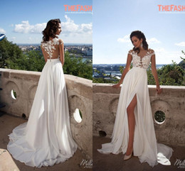 Wholesale Lace Dress Embroidery Champagne - Elegant A-Line Chiffon Beach Wedding Dresses 2016 Sheer Neck Lace Appliques Cap Sleeves Thigh-High Slits Bridal Gowns Custom Made Sexy Back