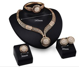 Wholesale Gold Jewellers - jewelry sets fashion women Crystal 18k gold plated wedding bridal statement fashion African popular wholesale 4 piece jeweller