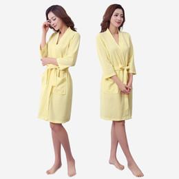 Wholesale Yellow Batik Fabric - Wholesale- Men and women comfortable waffle fabric pajamas sleep gown home casual models women's nightwear home service
