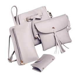 Wholesale Polyester Cost - Wholesale- Super cost-effective ! Women Four Set Solid color Fashion Handbag Shoulder Bags Four Pieces Tote Bag Crossbody Wallet women bags