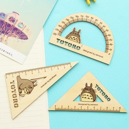 Wholesale old rulers - Wholesale-3 pcs set Cute My Neighbor Totoro Wooden Ruler Measuring Straight Ruler Tool Promotional Gift Stationery Set H1490