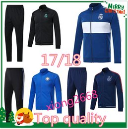 Wholesale Tracksuits Men Soccer - Best Quality Soccer set Jacket RONALDO tracksuit 2017 2018 Inter real Madrid jackets 17 18 milan ICARDI Football jacket kit Free shipping