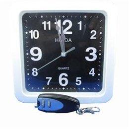 Wholesale White Dvr Clock - 2.4Ghz Clock spy White square wall clock hidden spy camera dvr with 16GB memory Wall Clock Spy Camera with Remote Control