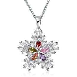 """Wholesale Handmade Snowflake - Christmas Series Snowflake Pendants Necklace Platinum Plated Xmas Gifts Crystal Cubic Zircon Charm Jewelry Handmade Chain 18""""inch GPN1201-A"""