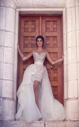 Wholesale Mini Wedding Dresses Detachable - Middle East African Sheer Long Sleeve Lace Short Wedding Dresses With Detachable Train 2016 Bride Wedding Gowns Bridal Dresses