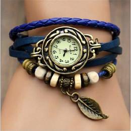 2019 envolver alrededor de las mujeres relojes Reloj de cuero retro de la PU de las mujeres Abrigo de la armadura de la vendimia alrededor de la pulsera Brazalete de la hoja del árbol Reloj de pulsera de cuarzo Relojes de pulsera de regalo de Navidad envolver alrededor de las mujeres relojes baratos