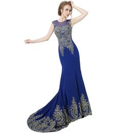 Wholesale Cheap Real Designer - Cheap Hot Sale Long Chiffon Tank Mermaid Evening Dresses Robe De Soiree Gold Lace Ribbon Prom Party Dresses Real Photo XU039