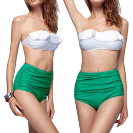 Wholesale Swimsuit Pin Up - PrettyBaby Pin Up Swimwear Bikini Vintage Retro Swimsuit High Waist Bathing Suit Green ruffle Swimsuit free dhl shipping