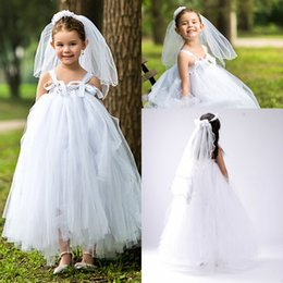 Wholesale Tea Length Dresses Stock - 2017 New Arrival Princess Tulle White Flower Girls' Dresses In Stock Cheap Baby Girls Party Gowns First Communion Dresses MC0214