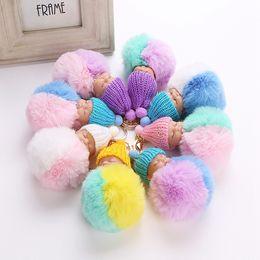 Wholesale Keychains Baby - Fluffy Sleeping Baby Doll 8cm Knit Hat Keychain Faux Rabbit Fur Bag Pom Pom Hat Key Ring Soft Pendant LJJO3478
