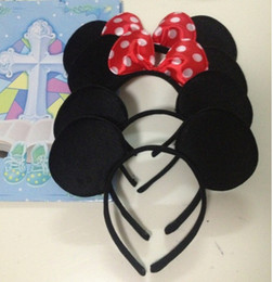 Wholesale Red Hair Wigs Wholesale - 12pcs Lot Minnie Mouse headband Children party Minnie Mouse Ears Baby Hair Accessories Red Bow kid birthday Girl Headwear