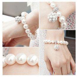 Wholesale Jewellry Rings - Fashion Charm Pearl Bracelet Women Romantic Crystal Rhinestone Gold Silver Cuff Bracelets Beaded Strands Bangle Wedding Pearl Jewellry Gift