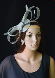 Wholesale Simple Straw Hats - Simple design. SILVER GREY Big sinamay bow sinamay fascinator wedding hat with feathers for Royal Ascot tea party Races Kentucky derby.
