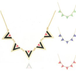 Wholesale Triangle Circle Pendant - Canlyn Jewelry Fashion Stylish Trendy Triangle Enamel Vintage Statement Necklace Collar Collier Bijuterias Necklaces & Pendants for Women