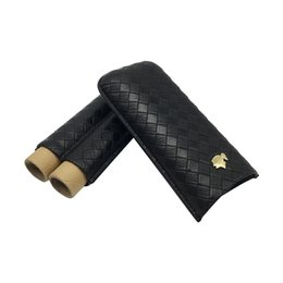 Wholesale Cigar Gadgets Gifts - Cigars Humidor with Gift Box COHIBA Gadgets New Black Woven Pattern Leather Cigar Case 2 Tubes Portable Travel