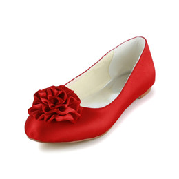 Wholesale Ivory Satin Bridal Flats - Red Ivory White Color Flat Comfortable Falt Women Bridal Wedding Shoes Wedding Dress Shoes With Bow From Size 35-Size 42