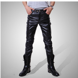 Wholesale Mens Leather Black Jeans - Mens Skinny Hip-Hop PU Leather Pants Shiny Black Trousers Nightclub Stage Costumes for Singers Dancer Male jeans Plus Size
