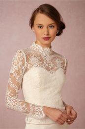Wholesale Tulle High Neck Jacket Wedding - High Neck Bridal Wraps Long Sleeve Wedding Lace Applique Jackets Cheap Bridal Jacket Bolero Jacket Plus Size