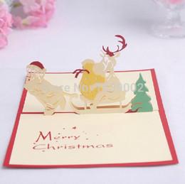 Cartões de papai noel on-line-Natal 3D Papai Noel Cartões de Natal Cartões de Papel 3d Carved 50 pçs / lote Frete Grátis