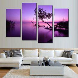 2019 фиолетовое дерево painting холст 4 шт. холст картины стены искусства фиолетовый дерево озеро и небо пейзаж живопись печать на холсте для Liviing номер Home Decor с деревянной рамкой дешево фиолетовое дерево painting холст