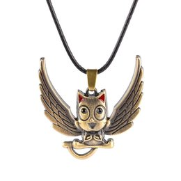Wholesale Blue Tail Fly - vintage copper plated alloy child Fairy Tail owl necklace blue Winged Flying cat Cartoon kitten With wings pendant Happy Habib necklace x307