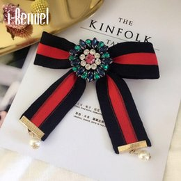 Wholesale Clothes Sale China - i-Remiel Zinc Alloy Women Sale 2017 Real Broche Pin Female Big Bow Collar Flower College Fabric Tie Clothing Accessories Brooch