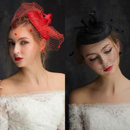 Wholesale Elegant Birdcage Hats Veil - Wedding Hair Accessories Red Sexy Tulle Wedding Veils Short Bridal Birdcage Hats Party Dress Beads Hat Elegant Blusher Veil Prom Gowns