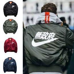 Wholesale army winter jackets - Ma1 Bomber Jacket 2017 winter jackets Pilot Anarchy Outerwear Men Army Green Kanji Japanese Merch Flight Coat Streetwear printed