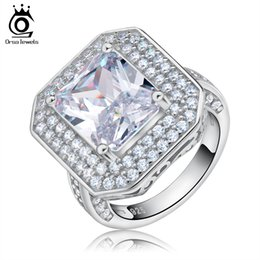 Wholesale White Gold Cushion Diamond Ring - Big Size Simulated Diamond 6 Ct Cushion Cut Zircon Wedding Ring on White Gold Plated Engagement Ring for Women OR103