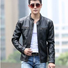 Wholesale Hot Mens Leather Pu Coat - 2018 David Beckham Faur Leather Jacket Hot Sale Fall Winter Fashion Mens Stand Collar Motorcycle PU Leather Jackets Coats M~5XL