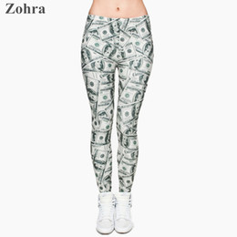 Wholesale Wholesale Graphic Pants - Wholesale-Money dollar 3D Graphic Full Print Leggings Women's Clothing Ladies fitness Legging Stretchy Trousers Skinny Leggings Pants