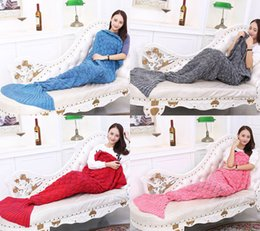 Wholesale Lit Sofa - Free Shipping Mermaid Tail Blankets Soft Hand Crocheted Cartoon Sofa Blanket Air-Condition Blanket Sleeping Bags Siesta Blanket 195X90cm