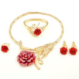 Wholesale Lemon Plate Set - Dubai 2017 new fashion elegant crystal peony flower shape 18K gold-plated jewelry sets female luxury necklace bracelet earrings and rings ~~