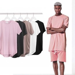 Wholesale Wholesale Plain Cotton Shirt - Wholesale-Curved Hem Hip Hop T-shirt Men Urban Kpop Extended T shirt Plain Longline Mens Tee Shirts Male Clothes Justin Bieber Kanye West