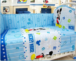 Wholesale Pillow Cover Sheet - Promotion! 6PCS Baby crib bedding set 100% cotton cot baby bedclothes (bumpers+sheet+pillow cover)