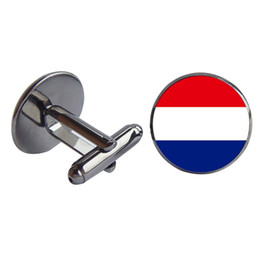 Wholesale Netherlands Gifts - Men Shirt Cuff links Netherlands and Guyana Glass Cabochon French Cufflink Copper Cloth Accessory Charm Jewelry Gift Wholesale