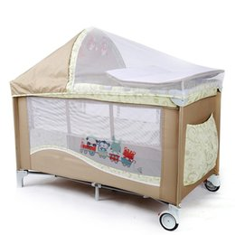 free shipping hot sale infant crib casters mosquito nets cot playpen portable safety folding baby cribs